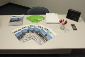 Flyers on a table