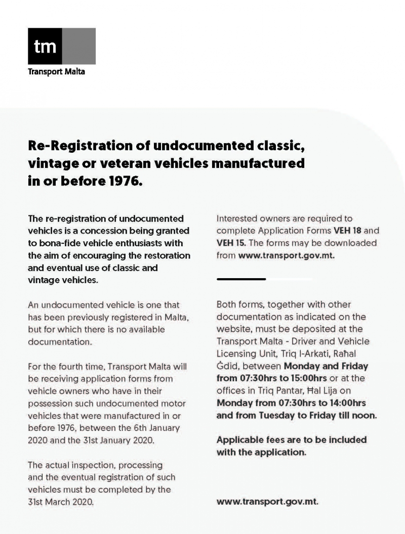 Re-registration of old vehicles
