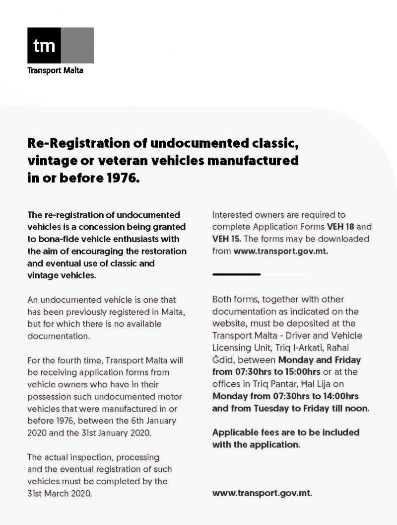 Re-registration of old vehicles